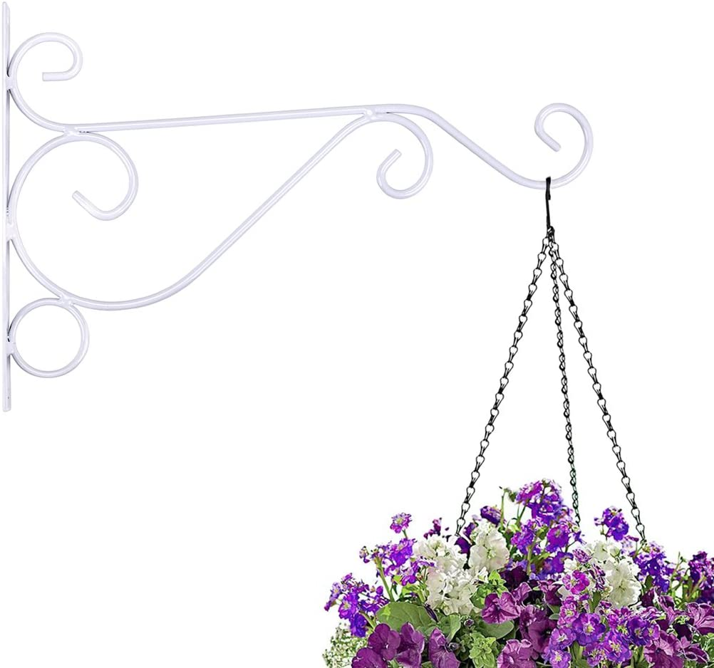 White 1 Pcs 12 Sturdy Wall Plant Hangers Indoor Outdoor Bracket for Hanging Bird Feeders,Lanterns,Planters,Wind Chimes,Ornaments with Screws Sumnacon Metal Plant Hanging Bracket Hook