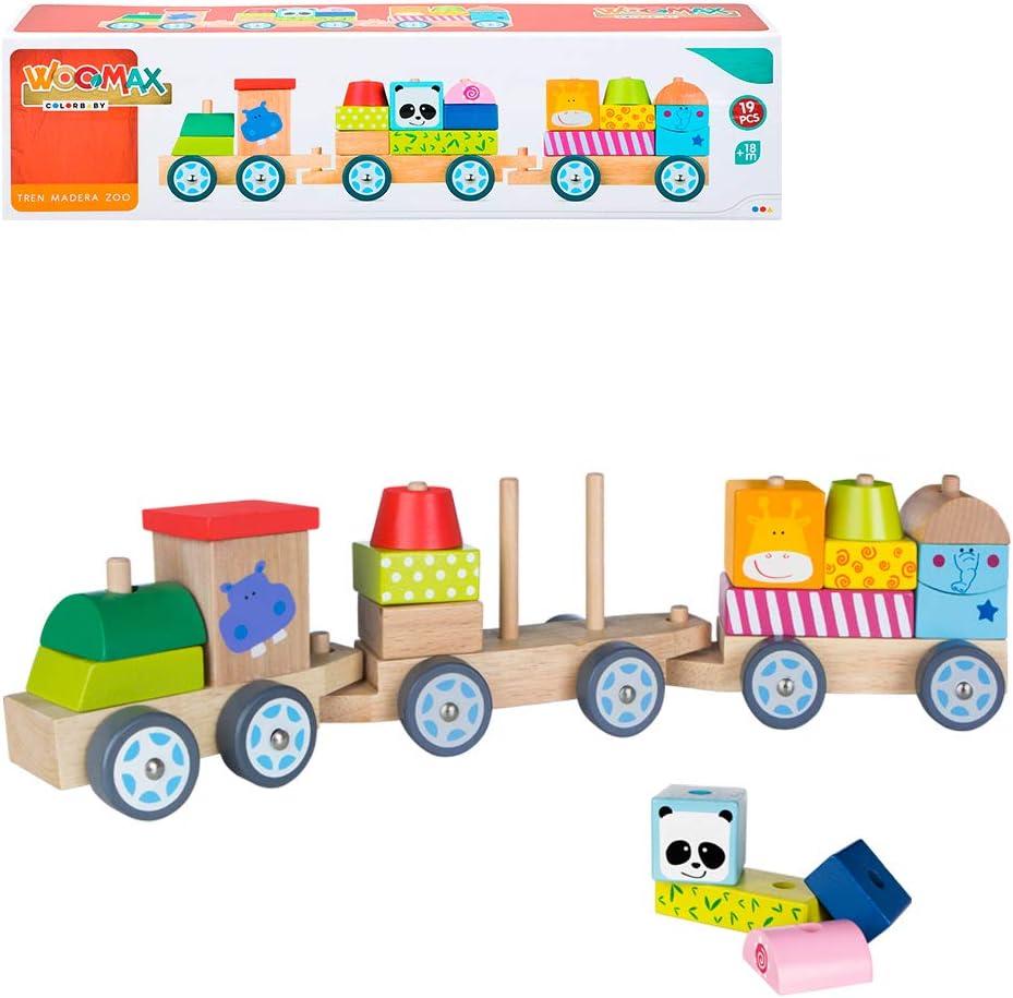 WOOMAX- Tren de madera con animales (ColorBaby 40997)