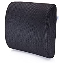 Premium Lumbar Support Pillow by MemorySoft - Memory Foam Lower Back Support Cushion for your Home, Office Chair, and Car - NEW Ergonomic Memory Foam Design with Cool Mesh Fabric (Black)
