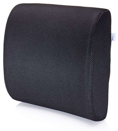 Amazon Lightning Deal 76% claimed: Premium Lumbar Support Pillow by MemorySoft - Memory Foam Lower Back Support Cushion for your Home, Office Chair, and Car - NEW Ergonomic Memory Foam Design with Cool Mesh Fabric (Black)