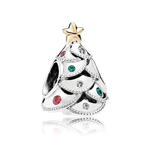Amazon.com: Pandora Charm Festive Tree with 14K Gold and Red, Green ...
