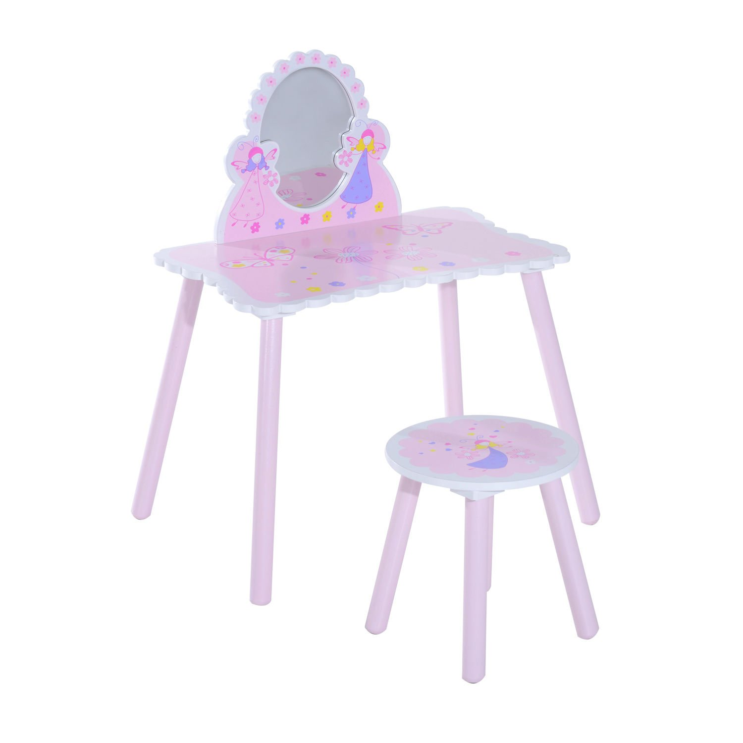 HOMCOM Girls Pink Wooden Kids Dressing Table & Stool Make Up Desk Chair Toys Fairy Dresser Play Set w/Mirror Sold by MHSTAR