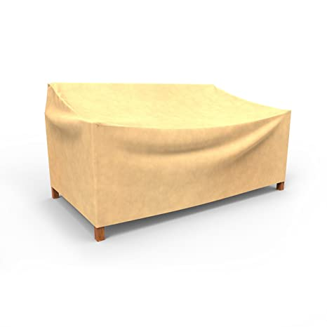 Delightful Budge All Seasons Outdoor Patio Loveseat Cover, Medium (Tan)