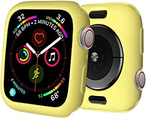 BOTOMALL for Apple Watch Case 40mm Series 6/5/4/SE Premium Soft Flexible TPU Thin Lightweight Protective Bumper Cover Protector for iWatch(Light Yellow,40MM Series 4/5/6/SE)