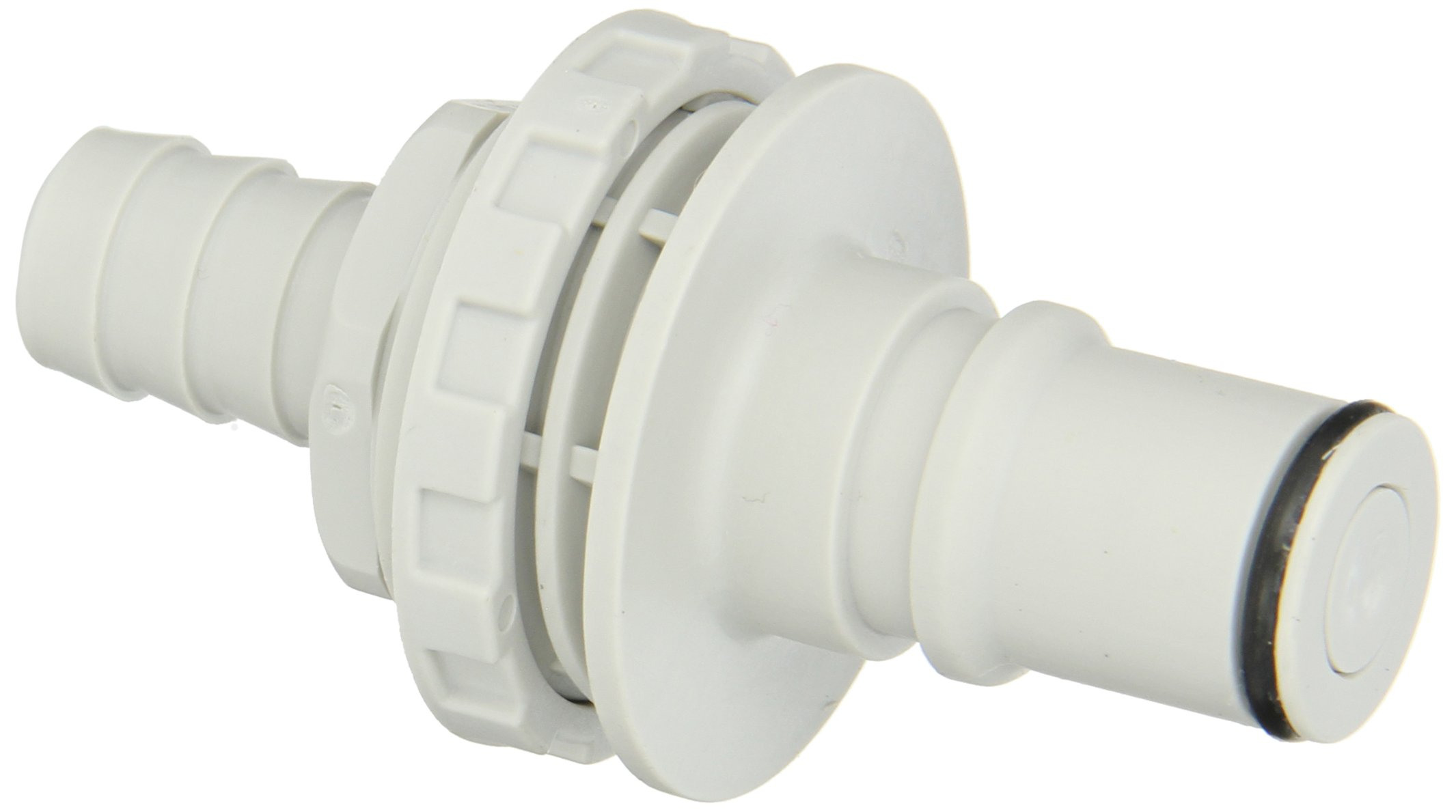 Colder NS6D42008 Polypropylene Tube Fitting, Insert, Shutoff, Panel Mount, 3/8'' Insert x 1/2'' Barb by Colder Products Company