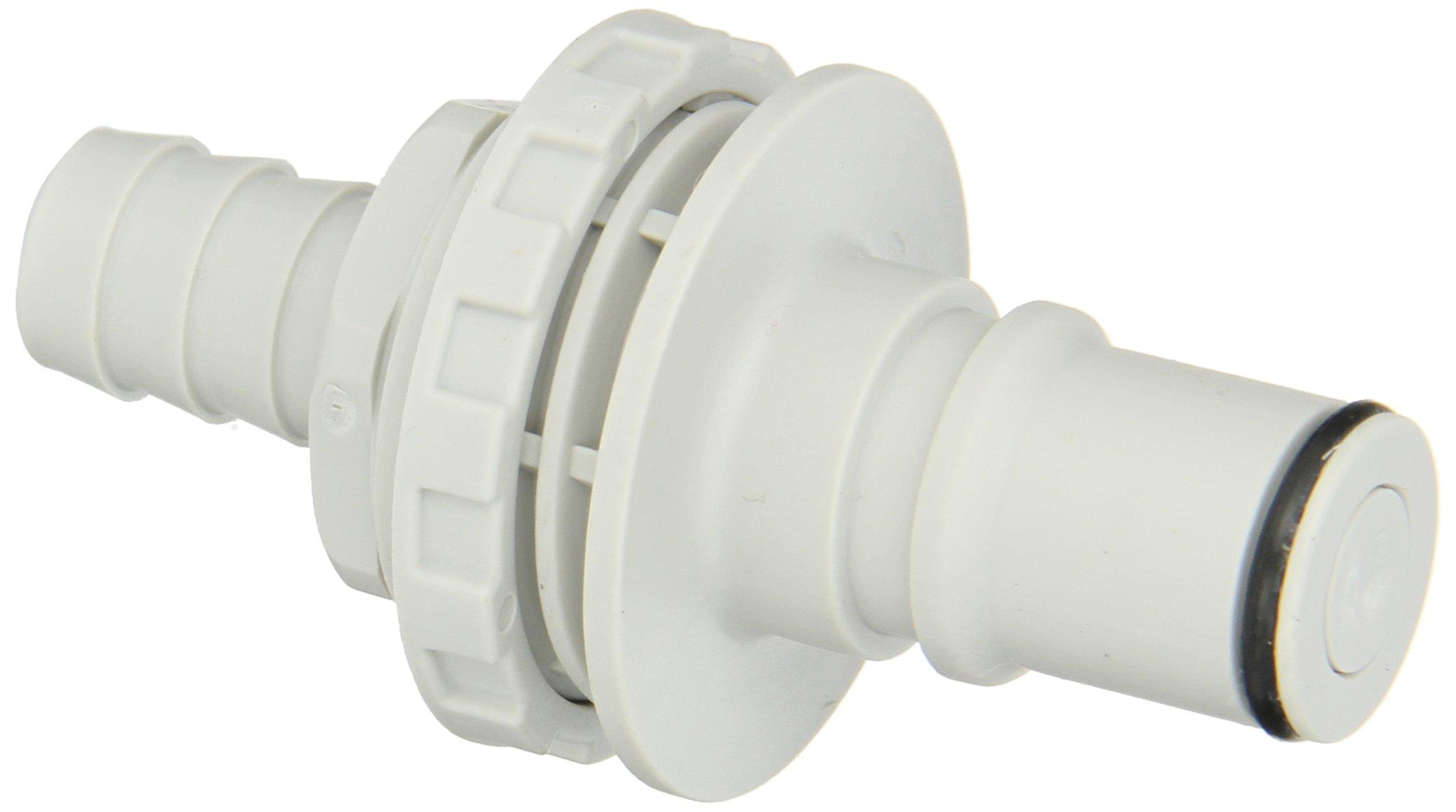 Colder NS6D42008 Polypropylene Tube Fitting, Insert, Shutoff, Panel Mount, 3/8'' Insert x 1/2'' Barb