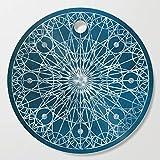 Society6 Wooden Cutting Board, Round, Rosette Window - Blue by erikfoxjackson