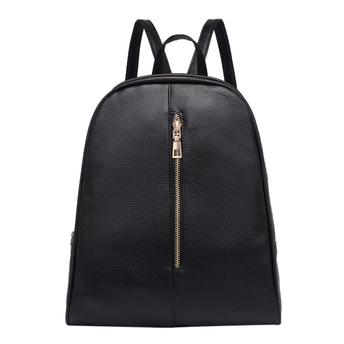 Amazon.com | Owill Woman Girls Fashion Leather Backpack Female Preppy Style Zipper Mochila School Book Bag (Black) | Kids Backpacks