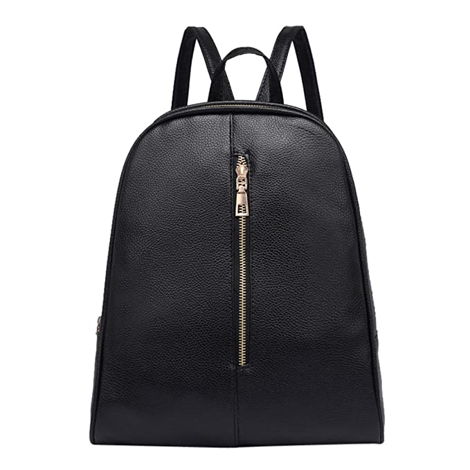 Owill Woman Girls Fashion Leather Backpack Female Preppy Style Zipper Mochila School Book Bag (Black