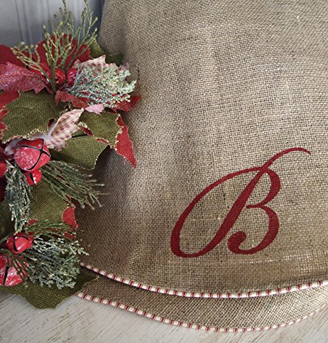 72'' Oversize Extra Large Burlap Christmas Tree Skirt with Red and White French Ticking, Burlap Tree Skirt, Optional Personalization by The Burlap Cottage®