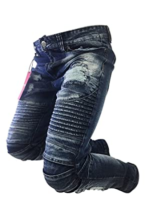 8778e045 Men's Victorious Jeans Skinny Leg Distressed Dark Indigo Blue Biker Style  Design DL1081 (38X33)
