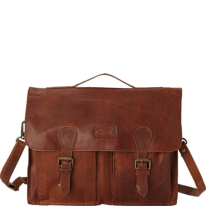 c9c3dce03c52 Amazon.com  Sharo Leather Bags Soft Leather Laptop Messenger Bag and Brief  (Black)  Clothing