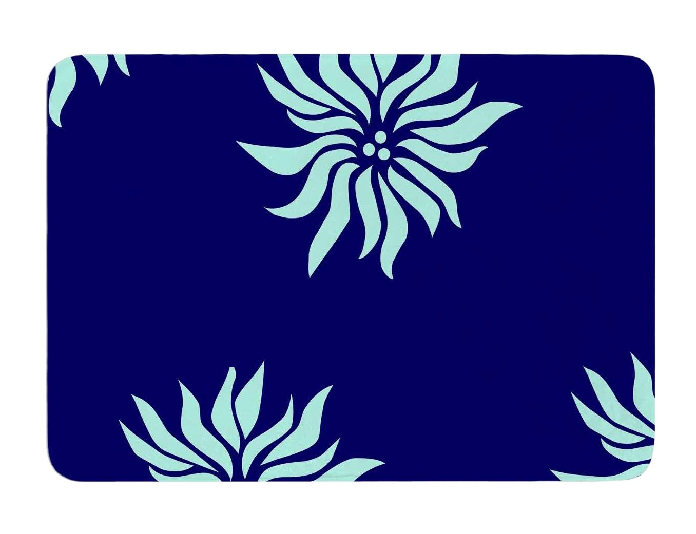 Kess InHouse NL Designs Snow Flowers Blue Aqua Memory Foam Bath Mat, 17 by 24-Inch, 17' X 24'