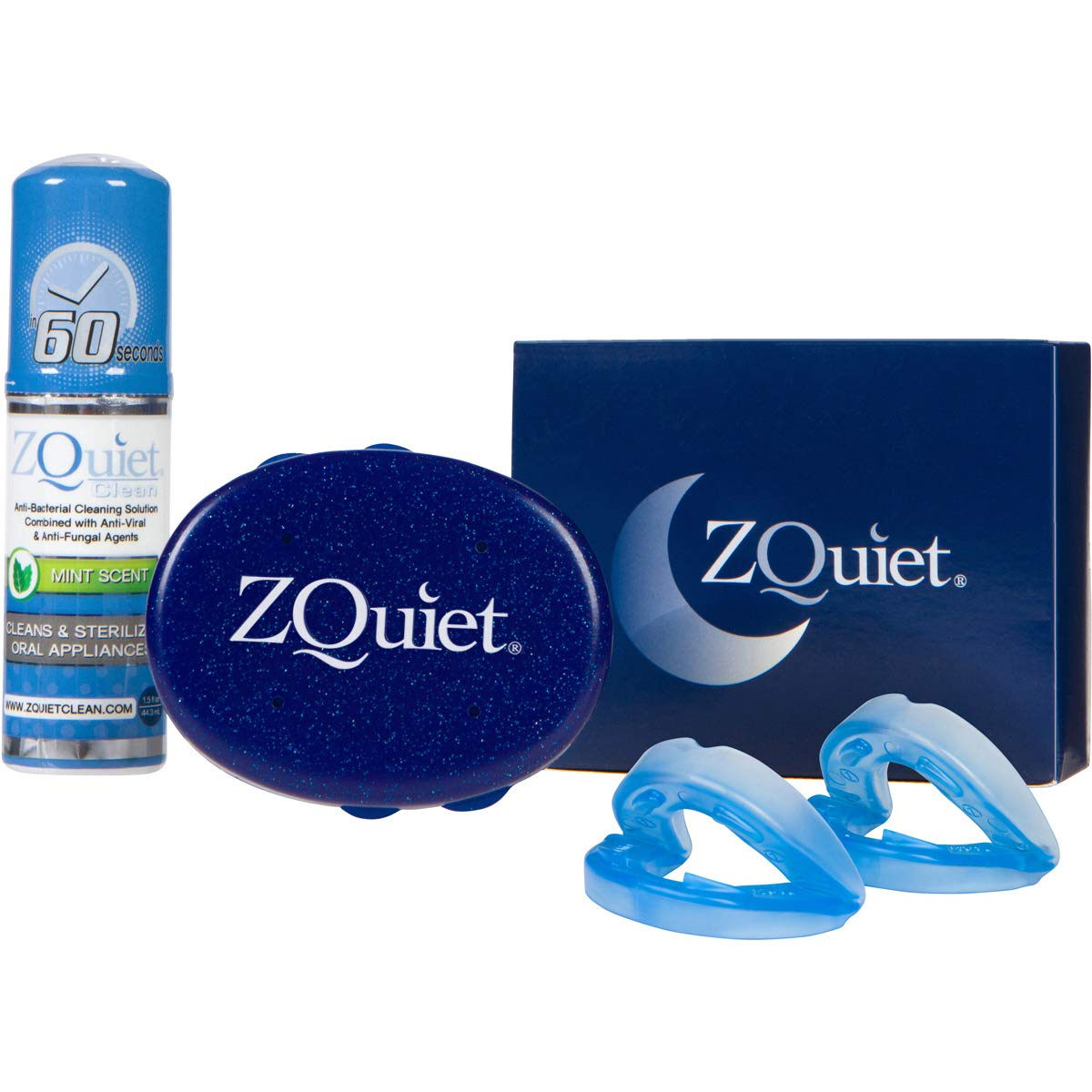 ZQuiet® Anti-Snoring Solution, 2-Size Comfort System Starter Kit with Cleaner: Set of 2 Sleep Aid Mouthpieces, Cleaner + Storage Case