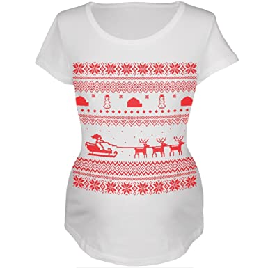 Amazon.com: Santa Sleigh Ugly Christmas Sweater Womens Maternity T ...