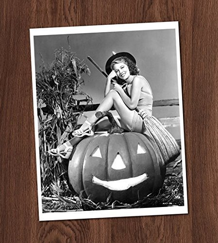 Witch on Pumpkin Pin Up Photo Vintage Art