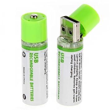 USB Bateria - TOOGOO(R)2pzs USB Bateria AA 1.2V 1450mAh NI-MH pilas USB recargable bateria (Verde)