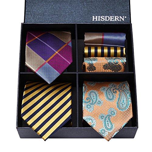 (HISDERN Lot 3 PCS Classic Men's Tie Set Necktie & Pocket Square Elegant Neck Ties Collection )