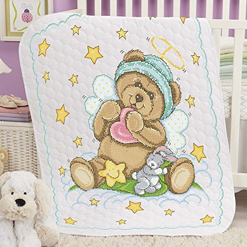 Baby by Herrschners Pre-Quilted Starbright Teddy Baby Quilt Stamped - Pre Quilt Baby Quilted