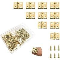 Daimay 50 stuks mini vouwscharnieren, achteraan, vintage, brons, scharnier, kleine scharnierband, kast, reparatieset…