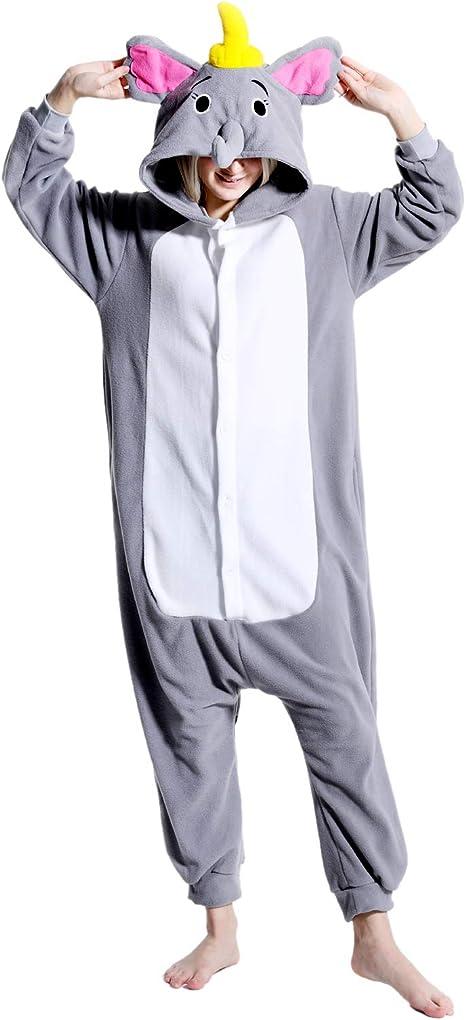 Adult Elephant Onesie Animal One Piece Pajamas Plush Elephant Cosplay Costume Women Men for Christmas