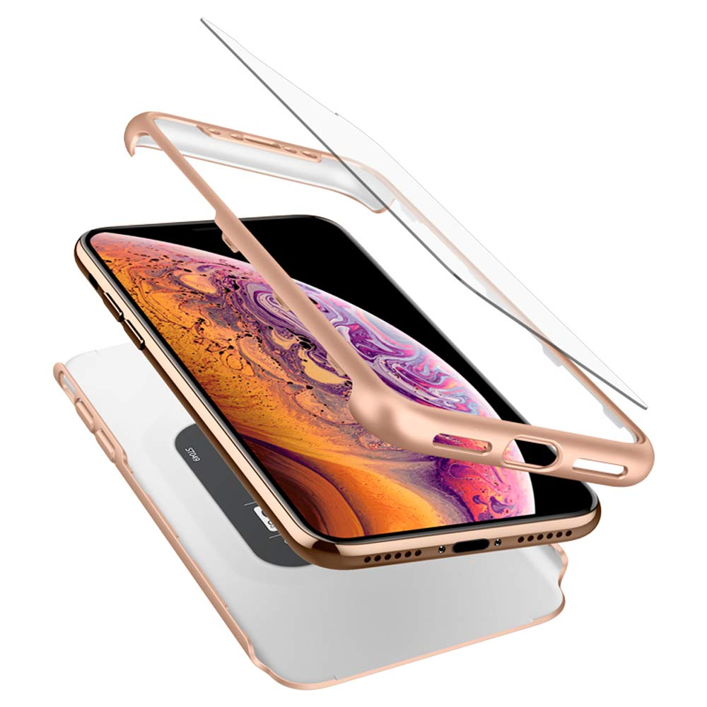 buy popular 3334c 1d3e8 iPhone XS / X - Ori Spigen Thin Fit 360 Case Cover (Gold)