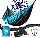 Camping Hammock With Nylon Straps And Carabiners By Silverton | Highest Quality Portable & Durable 210T Nylon Rated For 450 lbs. & Can Be Used To Doublenest – Great for Backpacking The Great Outdoors For Sale