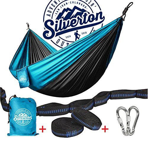 Camping Hammock With Nylon Straps And Carabiners By Silverton | Highest Quality Portable & Durable 210T Nylon Rated For 450 lbs. & Can Be Used To Doublenest - Great for Backpacking The Great Outdoors