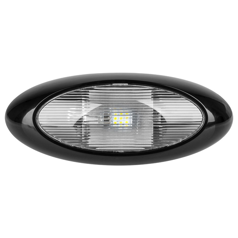 12'' LED Oval Scare/Porch Light - Clear Lens, Black Base - A Durable, Replacement Or Addition For Any RV, Trailer, or Camper.