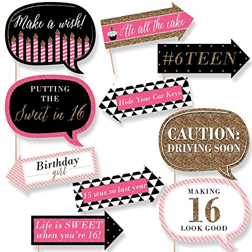 Funny Chic Sweet Sixteen Birthday - Pink, Black and Gold - 16th Birthday Party Photo Booth Props Kit - 10 (Black And White Sweet 16)