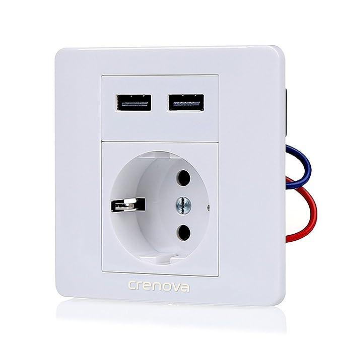 Enchufe con USB, Crenova ZM010 Enchufe Electrico Schuko USB Toma de Corriente de Pared con 2 Puertos USB (Salida 5V 2.1A DC) para Cargar iPhone, iPad, ...