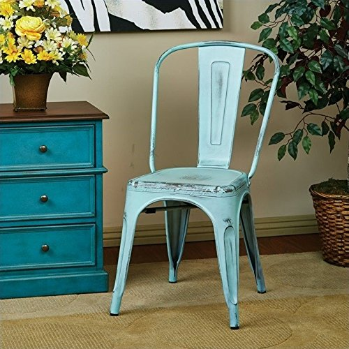 Office Star Bristow Metal Seat and Back Armless Chair, Antique Sky Blue, 2-Pack