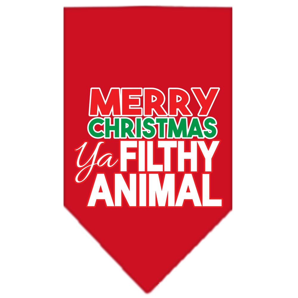 Mirage Pet Products 66-161 LGRD Ya Filthy Animal Screen Red Print Bandana, Large