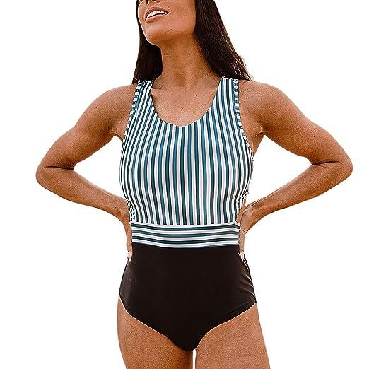 7bcb21cd60 GIANTHONG Women's Elegant One-Piece Swimsuit Beach Swimwear Bathing Suit  Stripe High Leg Cut One
