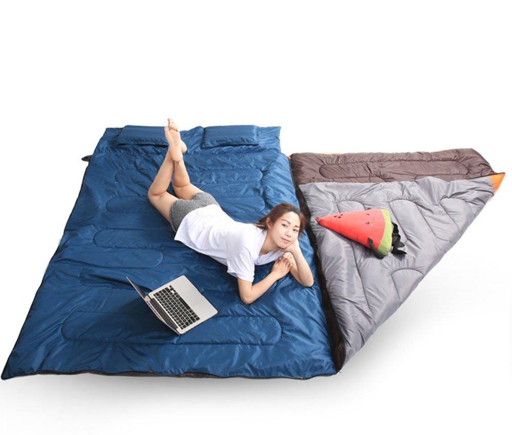 Obling 86.7 * 57 cm doble Envelope saco de dormir con 2 almohadas y 1 bolsa de compresión saco de dormir grande portátil, Dark blue + gray+ orange, ...