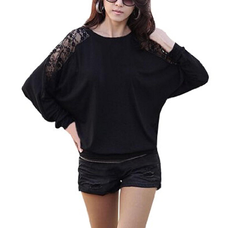 CRAVOG Damen sexy Batwing höhlen heraus Spitze Spliced loose Tops Bluse Schwarz Weiß
