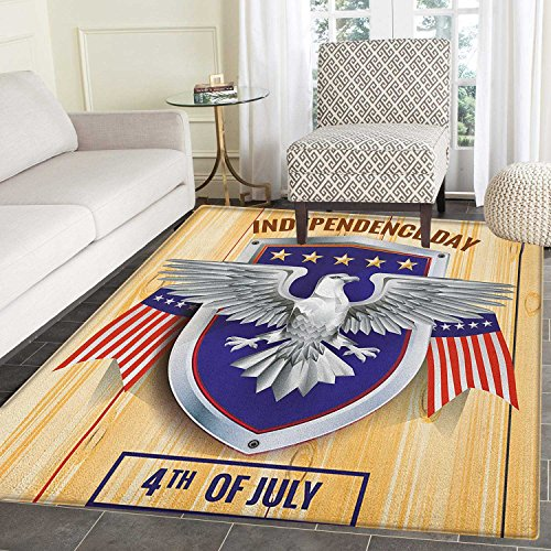 4th of July Area Rug Carpet American Bald Eagle and Flags Pa