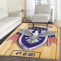4th of July Area Rug Carpet American Bald Eagle and Flags Pattern on a Heraldic Emblem Design Wooden Board Living Dining Room Bedroom Hallway Office Carpet 5x6 Multicolor