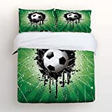 4 Piece Home Comforter Bedding Set with Zipper Color Splash Soccer World Cup Football Championship Bed Covers Twin Duvet Cover Bed Sheet Pillow Cases for Men Women Children Kids Adults Family
