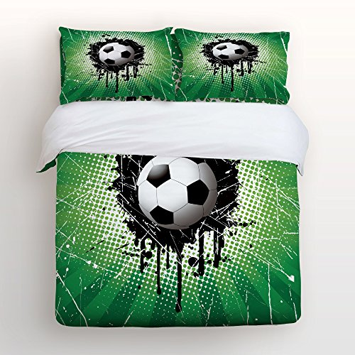 4 Piece Home Comforter Bedding Set with Zipper Color Splash Soccer World Cup Football Championship Bed Covers Twin Duvet Cover Bed Sheet Pillow Cases for Men Women Children Kids Adults Family by Flouky