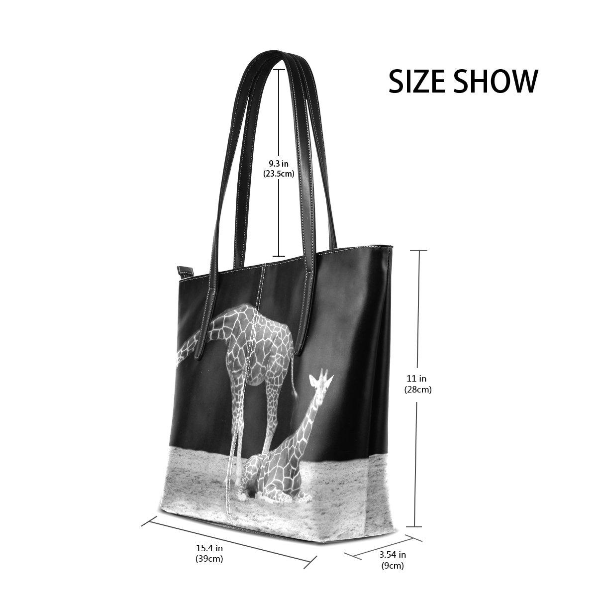 c373fd93e76f DEYYA Women's Vintage Giraffe Animal PU Leather Tote Shoulder Bag ...