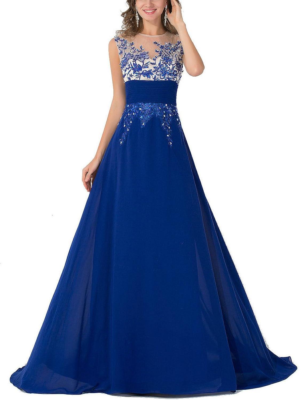Babyonline® Damen Lang Ärmellose Blau Applikation Abendkleider ...