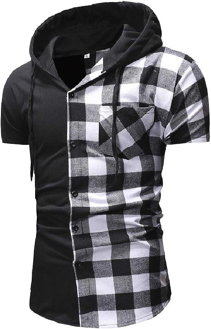 KLJR-Men Short Sleeve Plus Size Button Doen Floral Print Beach Hawaiian Shirt