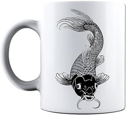 Novelty Printed Mugs Koi Carp Fish Asian Tattoo 2 Coffee Mug Cup Gift Amazon Co Uk Kitchen Home