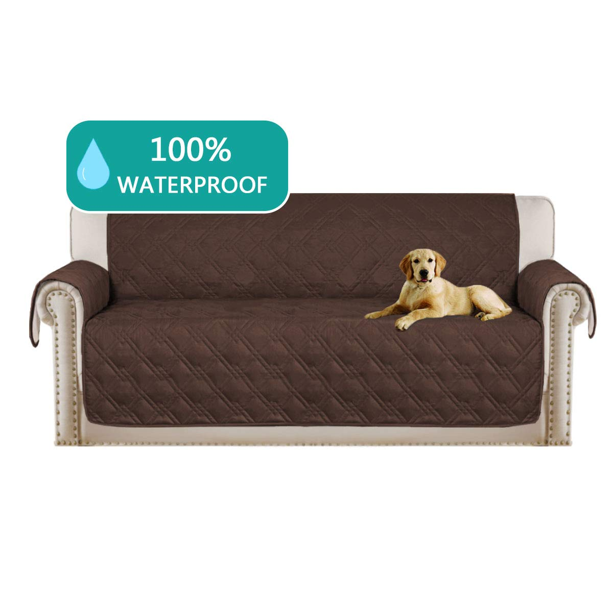 Turquoize Deluxe Quilted Furniture Protector Sofa Slipcover 100% Waterproof with Anti-Skip Little Dog Paw Print, Machine Washable, Slipcover Perfect for Pets and Kids(Sofa,75''x112'') Brown