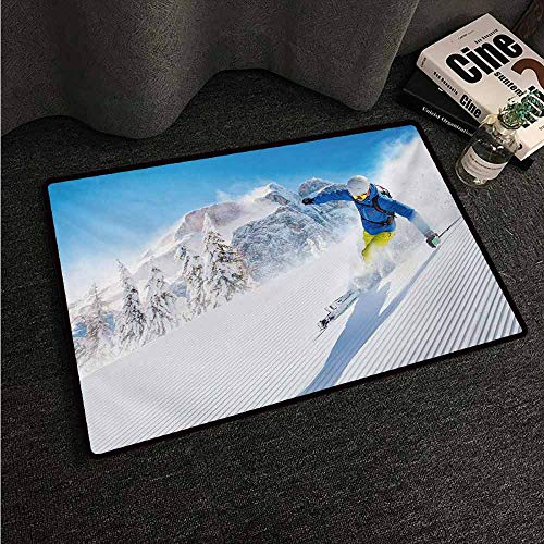 - HCCJLCKS Outdoor Door mat Winter Skier Skiing Downhill in High Mountains Extreme Winter Sports Hobby Activity with Anti-Slip Support W16 xL24 Blue White Yellow