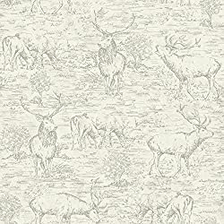 York Wallcoverings LG1446 Stag Toile Wallpaper, White/Off Whites