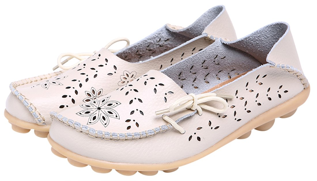 UJoowalk Women's Beige Casual Cowhide Leather Hollow Out Driving Loafer Shoes Boat Flats - Size 10.5