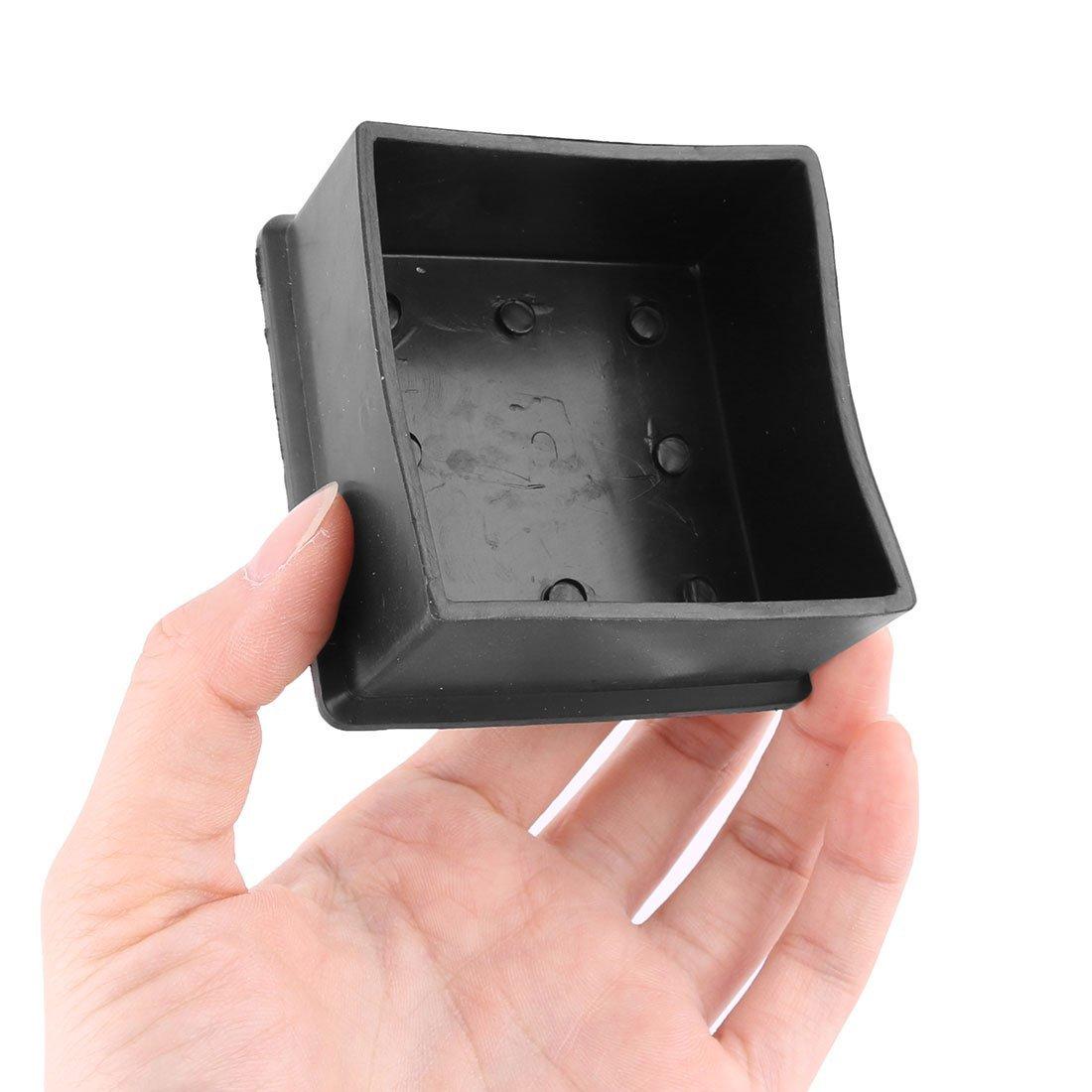 eDealMax Caoutchouc Mobilier Domestique Chaise Table Pied Housse de Protection Pad Caps 60mm x 60mm 8 pièces Noir