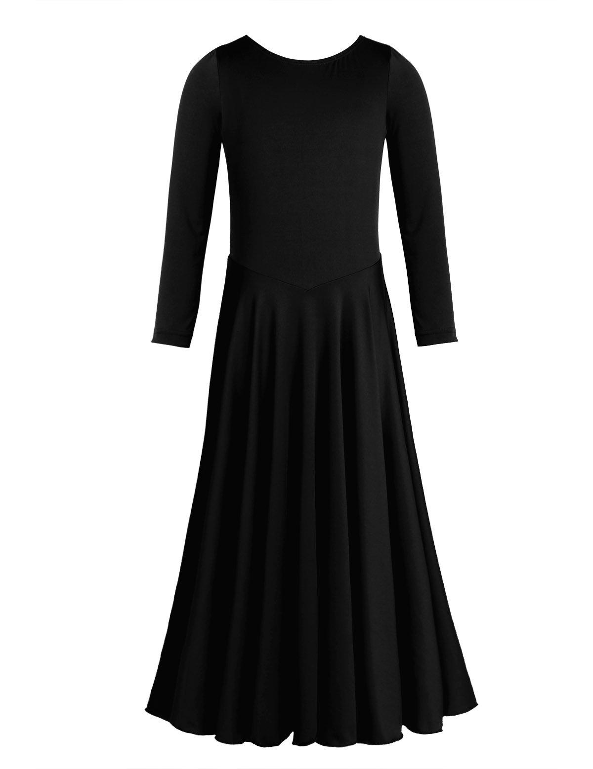 CHICTRY Girl's Child Elegant Liturgical Praise Full Length Long Sleeve Dance Dress Black 8